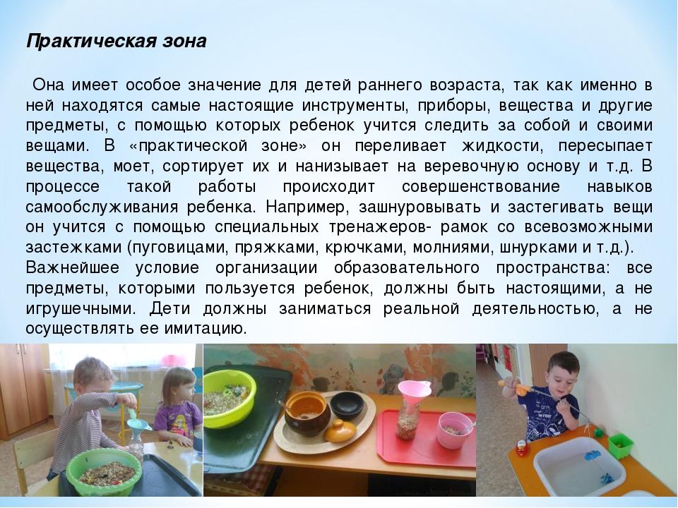 Практическая зона Она имеет особое значение для детей раннего возраста, так к...