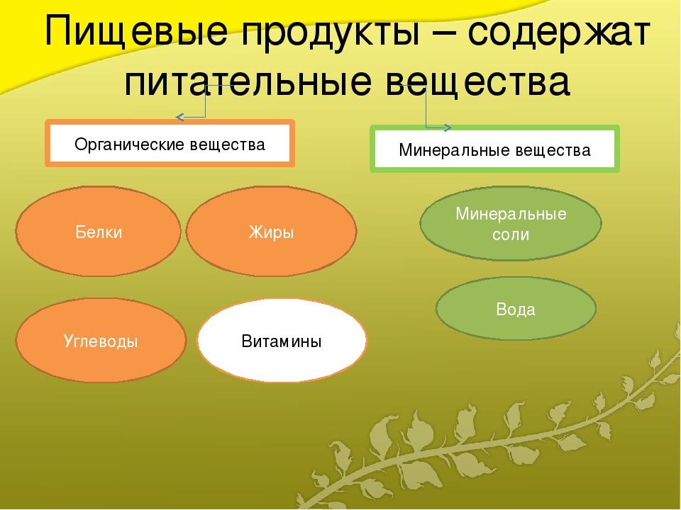Пищевые продукты – содержат питательные вещества Органические вещества Минера...