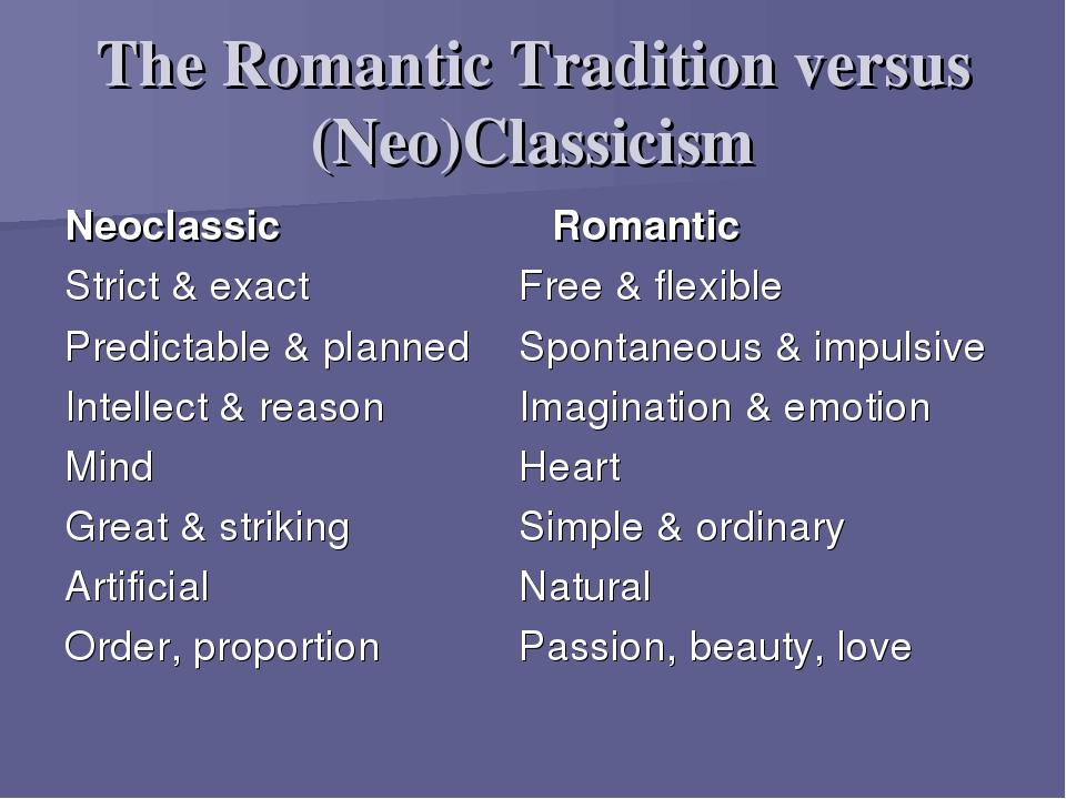 romantic vs. neoclassicism essay The romantic era, which was the period of time following the enlightenment, existed to eradicate the idea that innovation, produced from research and reason, was the basis for truth writers of the romantic era, such as john keats, believed that imagination, not rationalization, was the foundation truth was built upon.