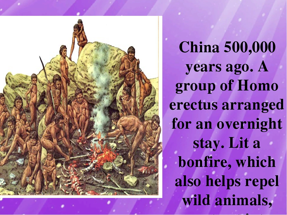 China 500,000 years ago. A group of Homo erectus arranged for an overnight s...