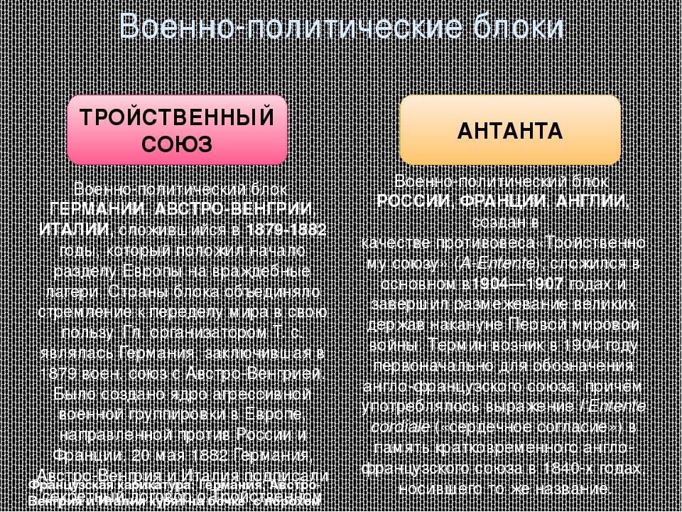Военно-политические блоки ТРОЙСТВЕННЫЙ СОЮЗ АНТАНТА Военно-политический блок...