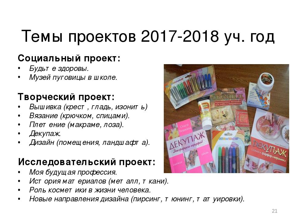Темы проектов 2017-2018 уч. год Социальный проект: Будьте здоровы. Музей пуго...
