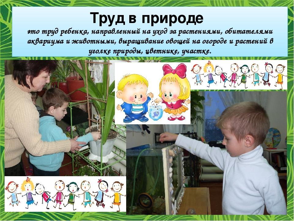 это труд ребенка, направленный на уход за растениями, обитателями аквариума...