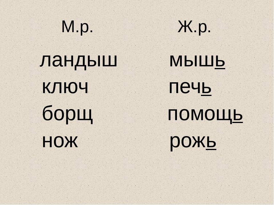 М.р. Ж.р. ландыш мышь ключ печь борщ помощь нож рожь