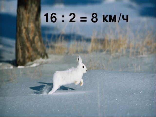 16 : 2 = 8 км/ч