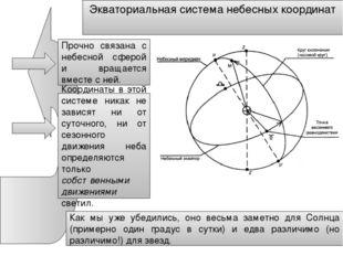 Экваториальная система небесных координат Прочно связана с небесной сферой и