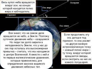 Весь купол неба вращается вокруг оси, на концах которой находятся полюс мира