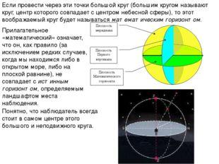 Если провести через эти точки большой круг (большим кругом называют круг, цен