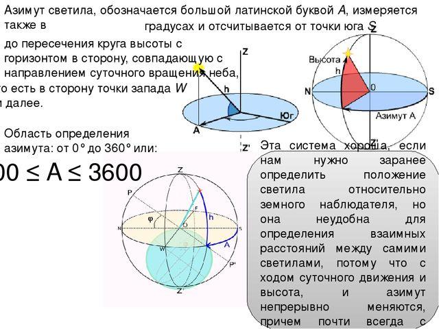 Азимут светила, обозначается большой латинской буквой A, измеряется также в г...