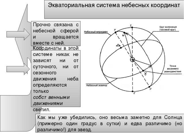 Экваториальная система небесных координат Прочно связана с небесной сферой и...