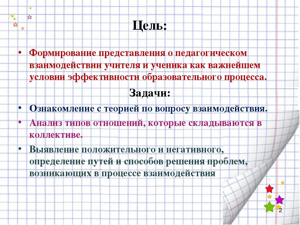 Цель: Формирование представления о педагогическом взаимодействии учителя и уч...