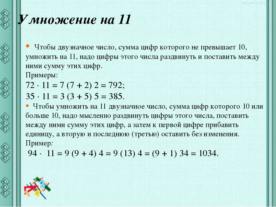 Умножение на 11 Чтобы двузначное число, сумма цифр которого не превышает 10,...