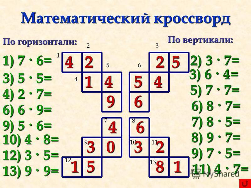 По математике 2 класс кроссворды