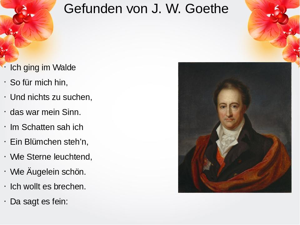 Gefunden von J. W. Goethe Ich ging im Walde So für mich hin, Und nichts zu su...