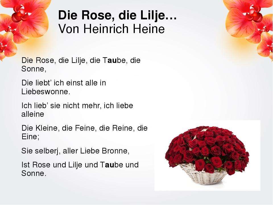 Die Rose, die Lilje… Von Heinrich Heine Die Rose, die Lilje, die Taube, die S...