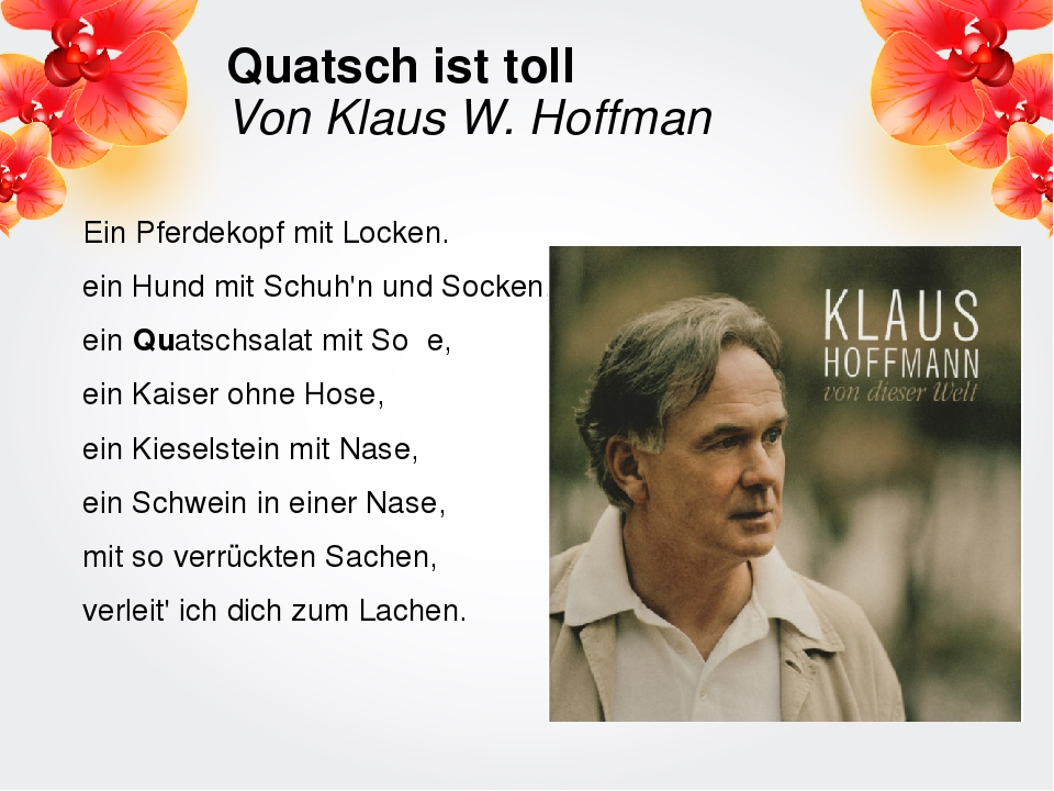 Quatsch ist toll Von Klaus W. Hoffman Ein Pferdekopf mit Locken. ein Hund mit...