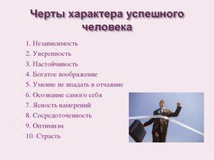1. Независимость 2. Уверенность 3. Настойчивость 4. Богатое воображение 5. Ум
