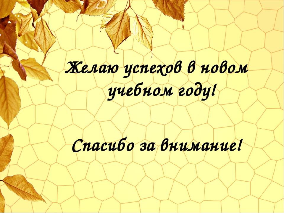 Желаю успехов в новом учебном году! Спасибо за внимание!