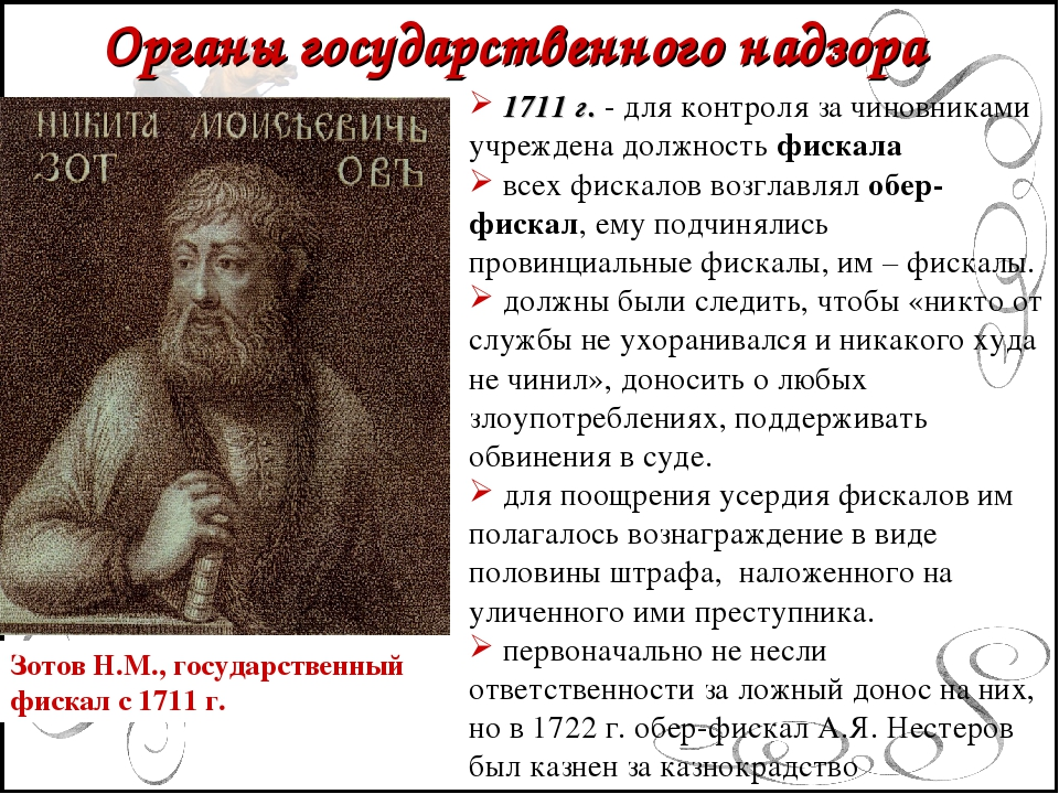 Органы государственного надзора 1711 г. - для контроля за чиновниками учрежд...