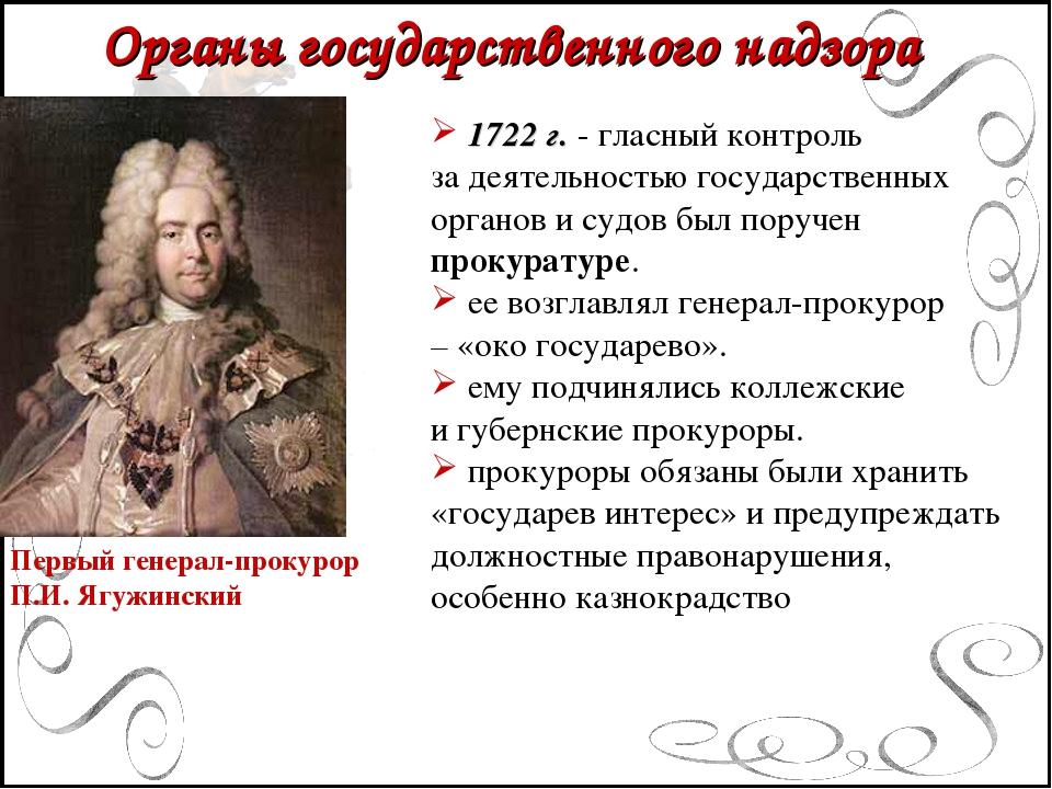 Органы государственного надзора Первый генерал-прокурор П.И. Ягужинский 1722...