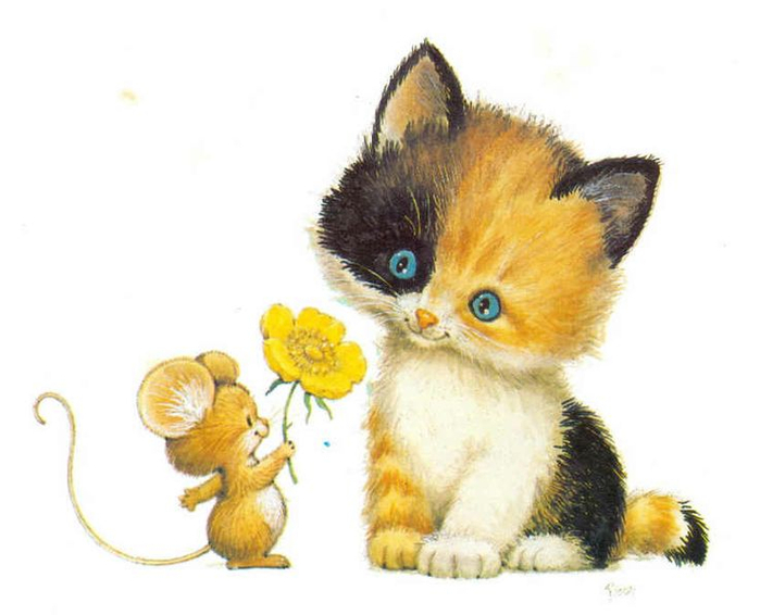 Кот и мышь картинки для детей