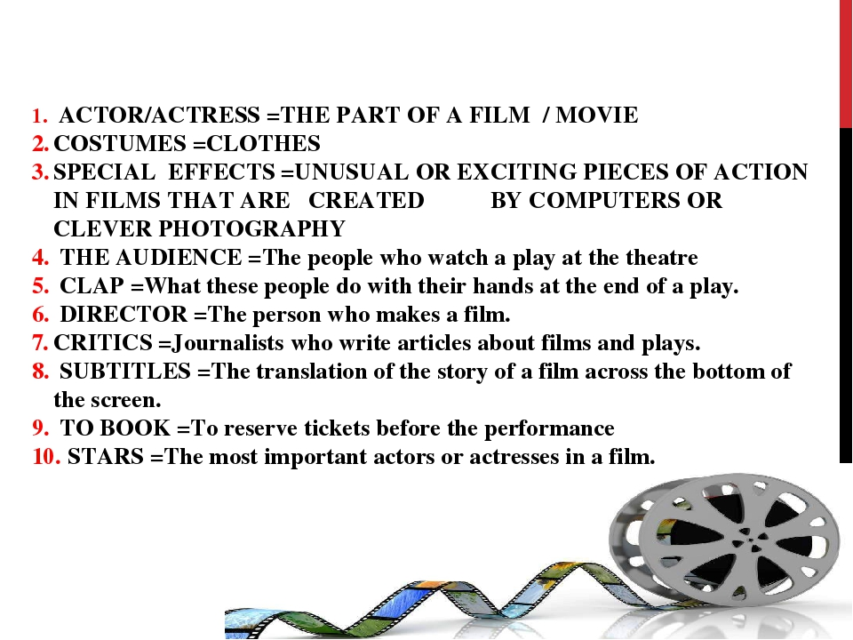 ACTOR/ACTRESS =THE PART OF A FILM / MOVIE COSTUMES =CLOTHES SPECIAL EFFECTS...