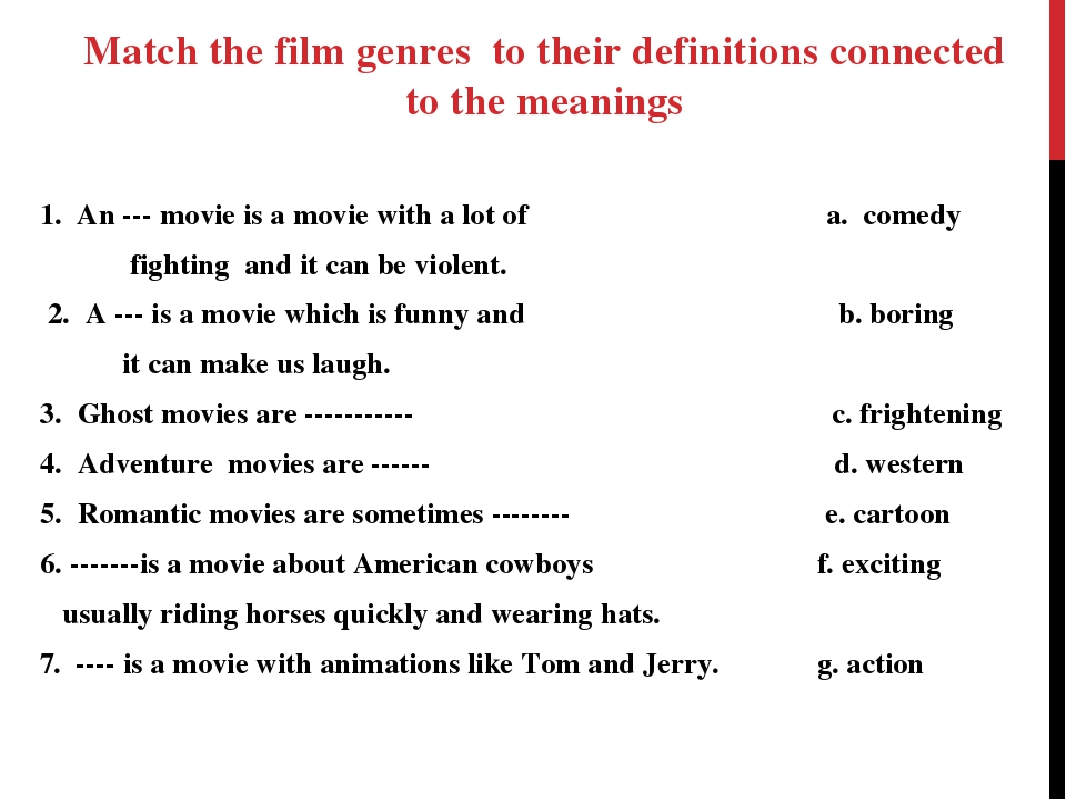 1. An --- movie is a movie with a lot of a. comedy fighting and it can be vio...