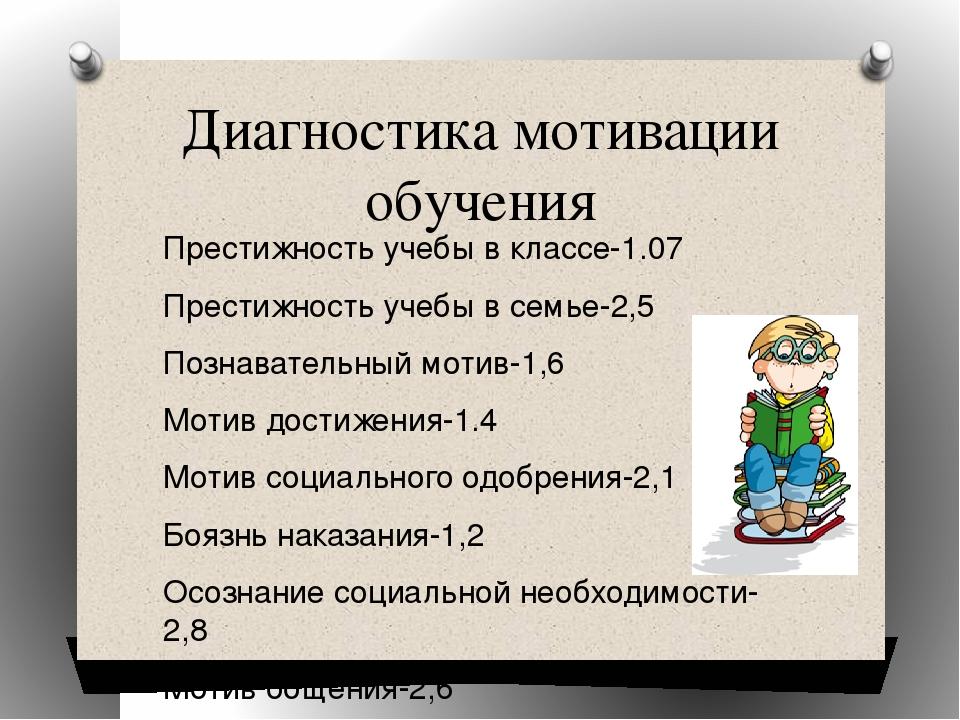 Диагностика мотивации обучения Престижность учебы в классе-1.07 Престижность...