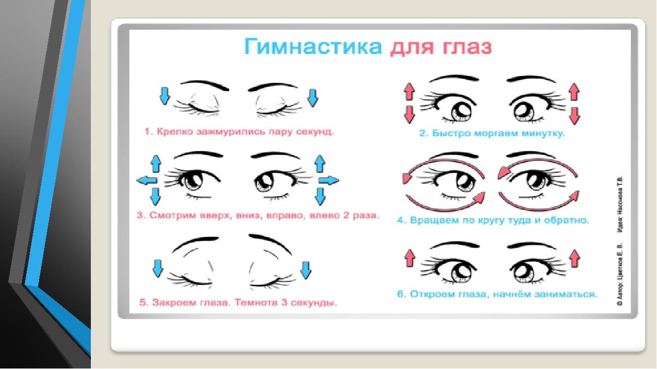 Гимнастика для глаз на уроке в картинках