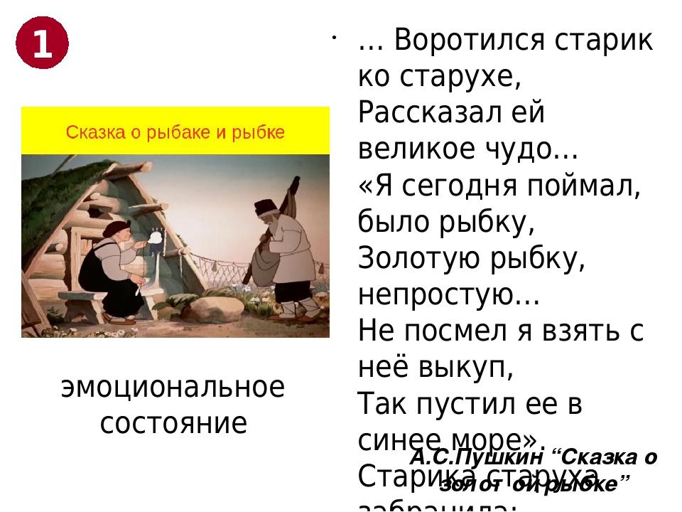 """А.С.Пушкин """"Сказка о золотой рыбке"""" … Воротился старик ко старухе, Рассказал..."""