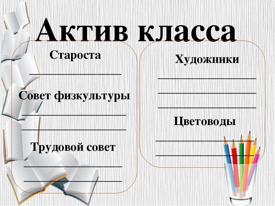 Актив класса Художники ________________ ________________ ________________ Ста...