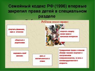Семейный кодекс РФ (1996) впервые закрепил права детей в специальном разделе