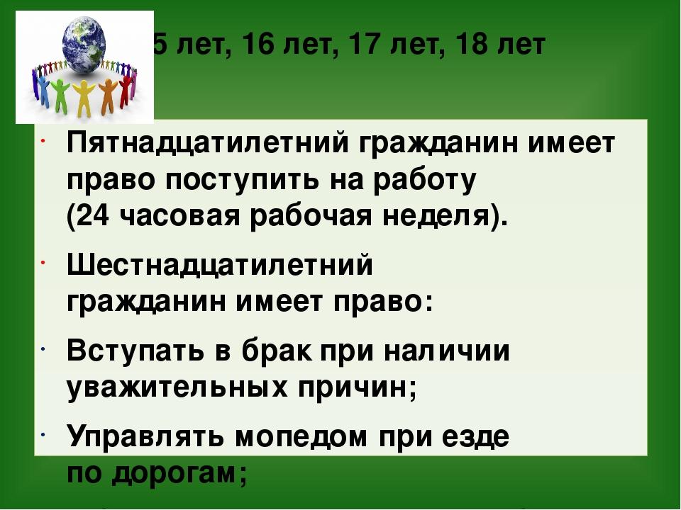 15 лет, 16 лет, 17 лет, 18 лет Пятнадцатилетний гражданинимеет право поступи...