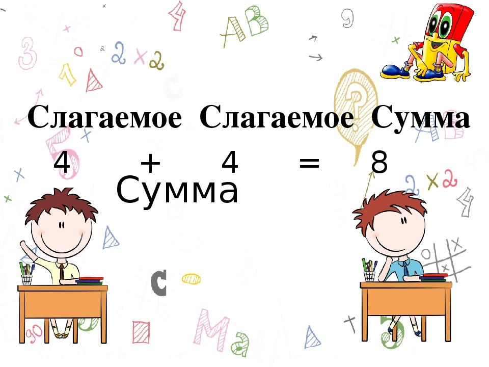 4 + 4 = 8 Сумма Слагаемое Слагаемое Сумма