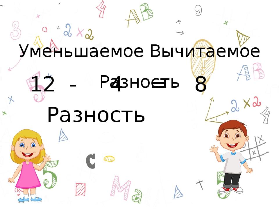 Уменьшаемое Вычитаемое Разность 12 - 4 = 8 Разность