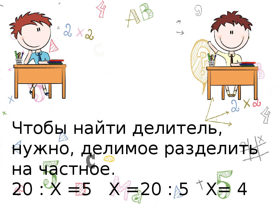 Чтобы найти делитель, нужно, делимое разделить на частное. 20 : Х =5 Х =20 :...