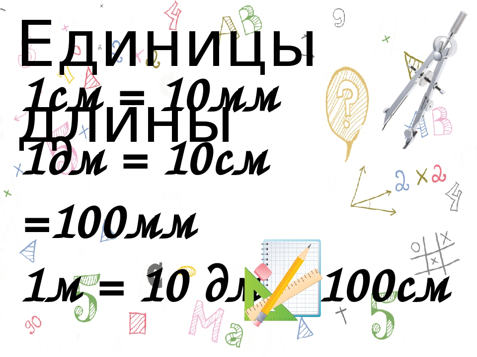 1см = 10мм 1дм = 10см =100мм 1м = 10 дм = 100см Единицы длины