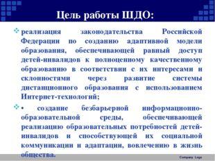 Цель работы ШДО: • реализация законодательства Российской Федерации по созд
