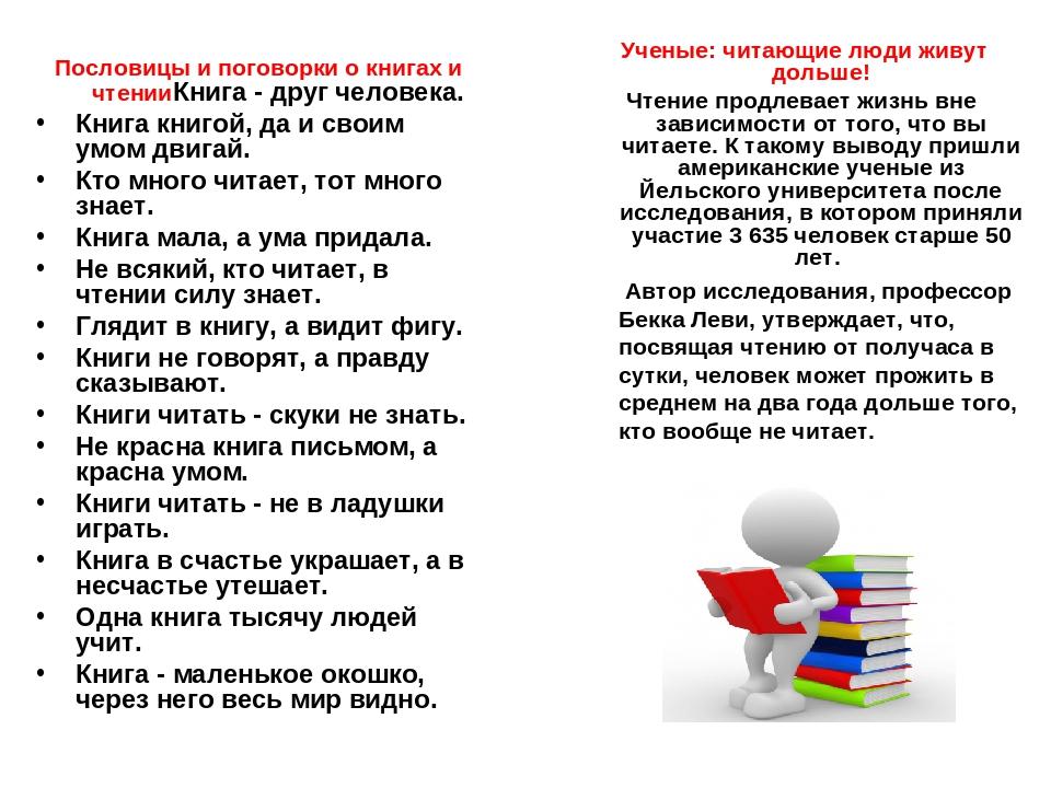 Пословицы и поговорки о чтении картинки