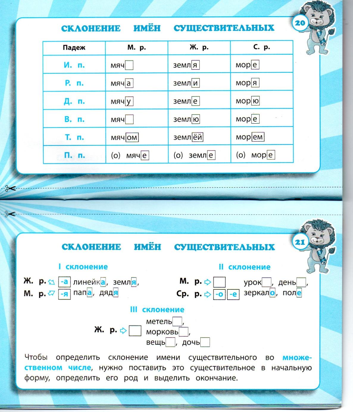 Схема склонений имен существительных