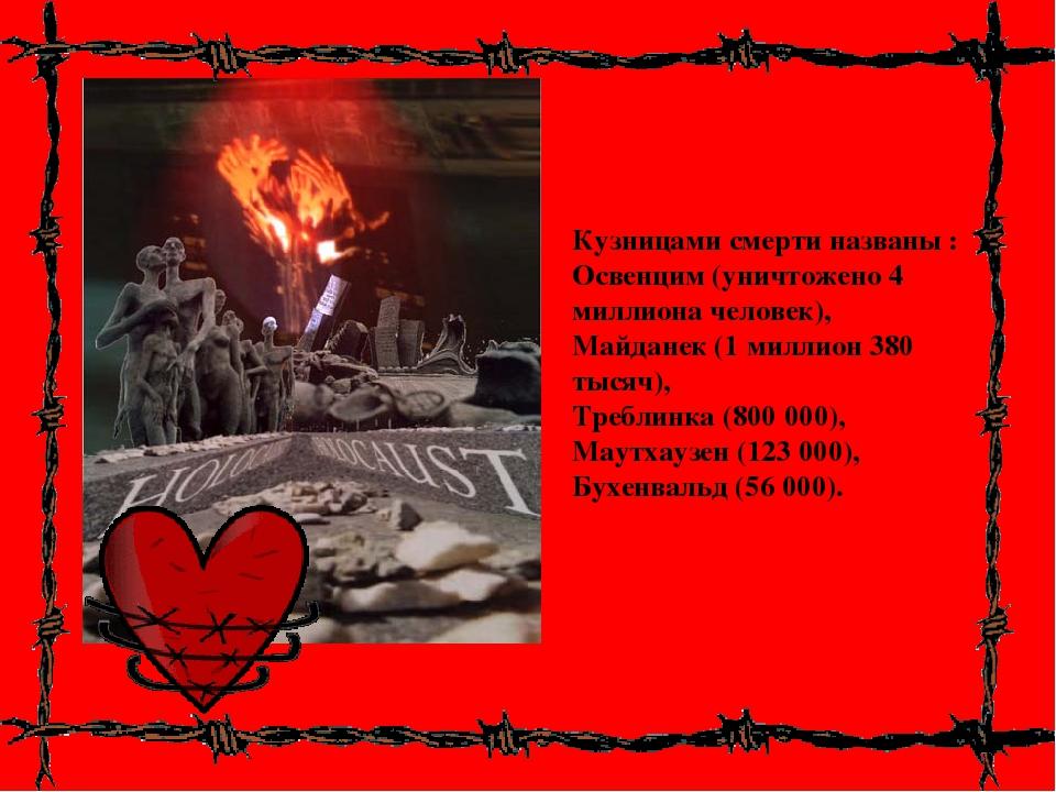 Кузницами смерти названы : Освенцим (уничтожено 4 миллиона человек), Майданек...