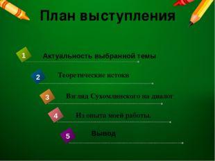 План выступления Теоретические истоки Взгляд Сухомлинского на диалог Из опыта