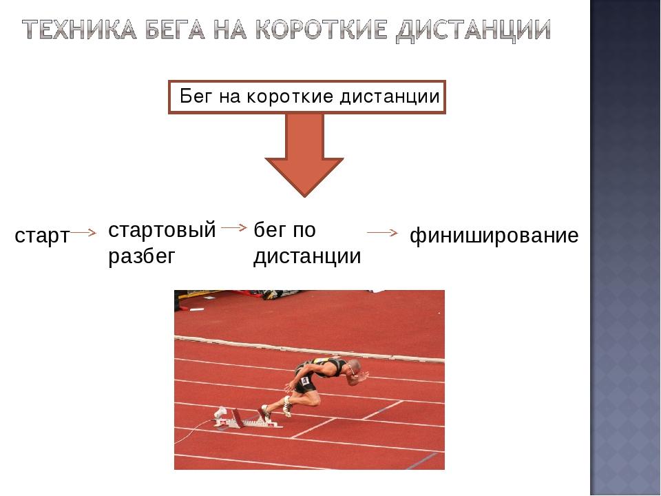 Бег на короткие дистанции старт стартовый разбег бег по дистанции финиширов...