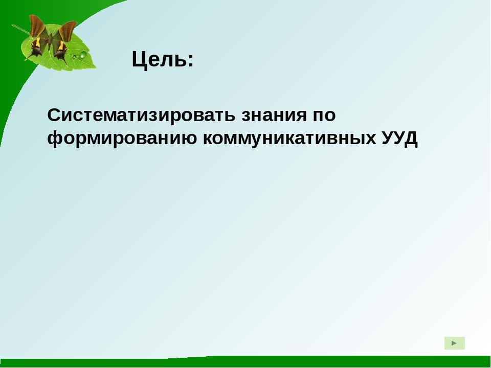 Цель: Систематизировать знания по формированию коммуникативных УУД