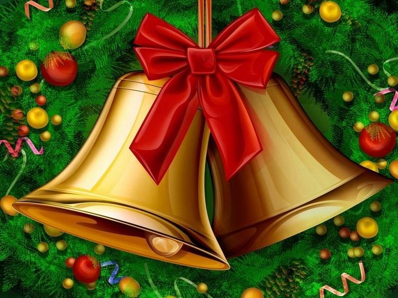 Новогодняя открытка колокольчики, мира счастья