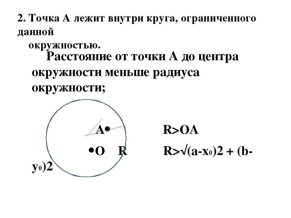 2. Точка А лежит внутри круга, ограниченного данной окружностью. Расстояние...