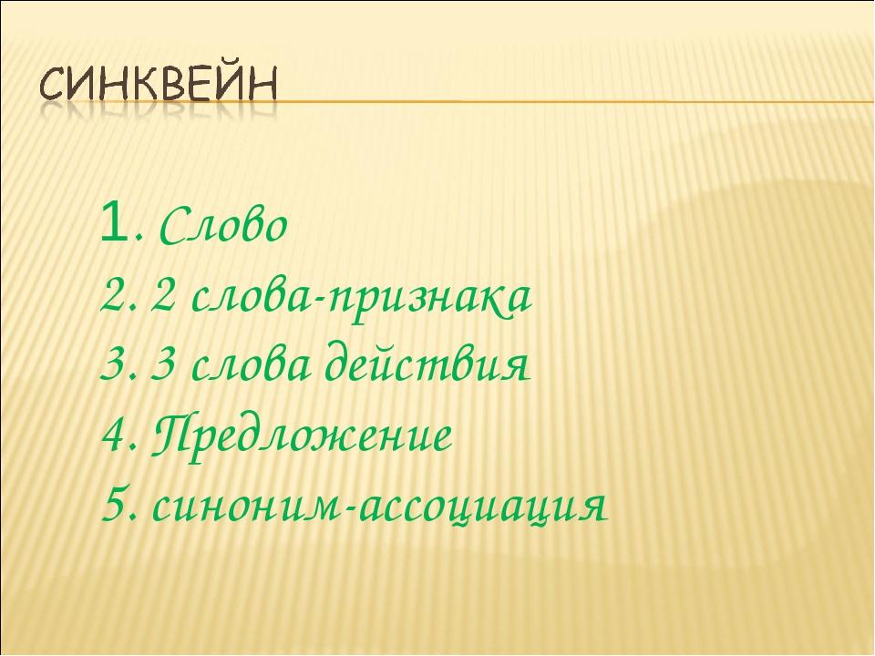 1. Слово 2. 2 слова-признака 3. 3 слова действия 4. Предложение 5. синоним-ас...