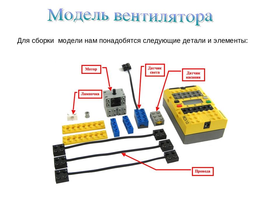 Для сборки модели нам понадобятся следующие детали и элементы: