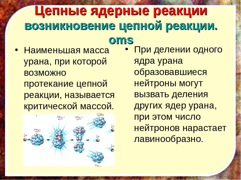 Цепные ядерные реакции возникновение цепной реакции.oms Наименьшая масса уран...