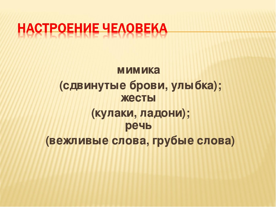 мимика (сдвинутые брови, улыбка); жесты (кулаки, ладони); речь (вежливые сло...